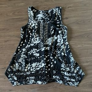 WORN 1x Sequin Embellished Ruffle Tunic Tank Top!